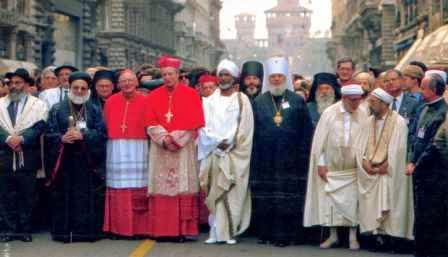 Cardinal Martini, archbishop of Milan, guides a march during the meeting of world religions in Milan in 1994